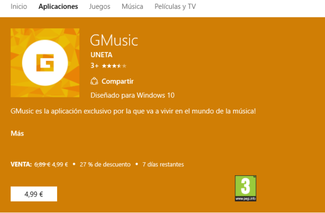 GMusic para Windows 10